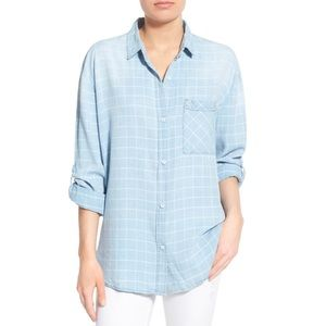 Thread & Supply Checked Chambray Button-Up Top